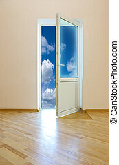 Door to sky - Opened doorway leading to the sky