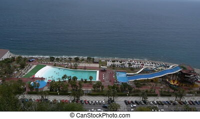 water park in Almunecar Spain - pool area with blue water in...