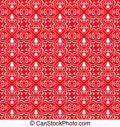 Christmas Patterns Ornaments Red Background - Christmas...