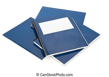 Blue school textbook, notebook or manual with white...