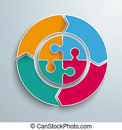 Ring Cycle 4 Options Circle Puzzle - Colored ring on the...