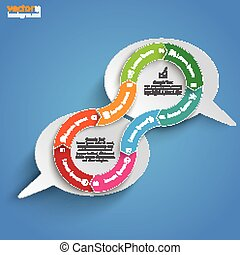 2 Speech Bubbles Connected Cycle Blue Sky - Infographic...