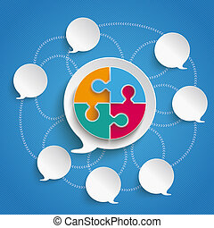 Speech Bubbles Sky Circle Puzzle - Infographic design on the...