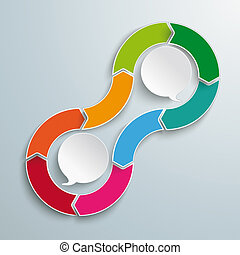 2 Speech Bubbles Cycle 8 Options - Cycle infographic with...