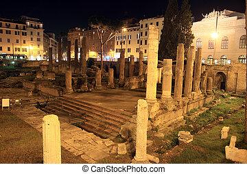 Largo di Torre Argentina - area sacra Roman ancient ruins in...