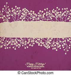 Holly berry - Grunge holly berry border with space for text...