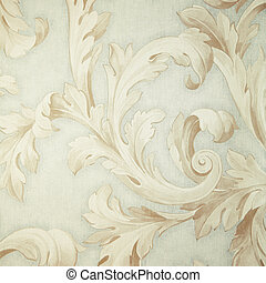 Vintage grey victorian wallpaper with beige baroque vignette...