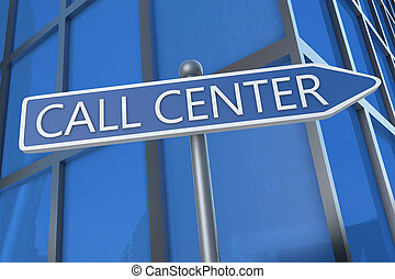 Call Center - illustration with street sign in front of...