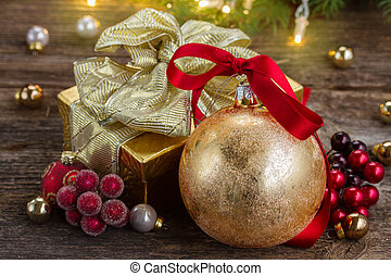 christmas ball with gift box - christmas ball with red bow...