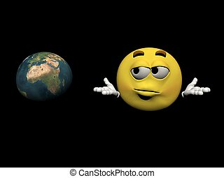 Emoticon and the planet - 3d render - Emoticon in concerns...