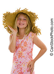 happy little girl with summer hat isolated on white
