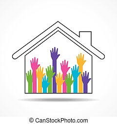 Group of up hands in the home