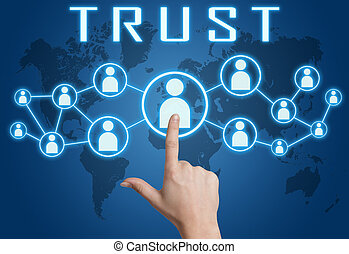 Trust concept with hand pressing social icons on blue world...