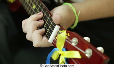 Details of guitar playing - Guitar with national symbolism...