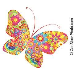 flores, colorido, mariposa,
