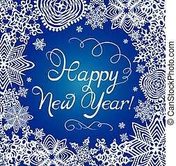 New Years greeting card with paper snowflakes