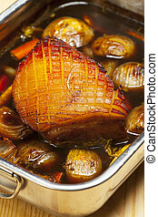 bavarian roast pork in a baking dish