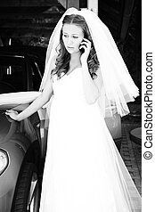 Where are you? - Nice young woman on wedding day - bride in...