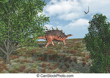 Kentrosaurus Dinosaur Walking