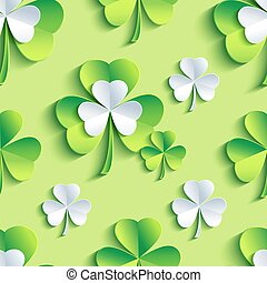 Background seamless pattern green with 3d Patrick clover -...