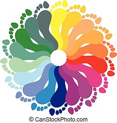 Color rraces of feet imprints - Color illustration of feet...