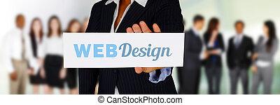 Website Designer - Woman holding a card for her web design...