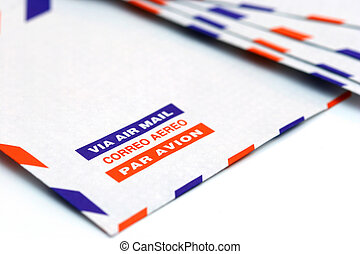 Air mail - Envelope with the words air mail in different...