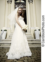 Pregnant bride in bridal gown - Nice young woman on wedding...