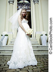 Nice pregnant bride - Nice young woman on wedding day -...