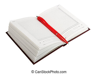 Empty open diary and red ball point pen. Close-up. Isolated...