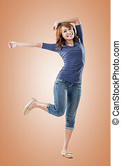 Excited Asian young girl, full length portrait isolated