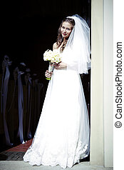 Beauty bride in white - Nice young woman on wedding day -...