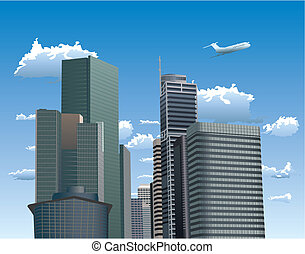 Skyscrapers against blue sky with white clouds - Vector...