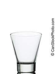 empty water glass on white background close up