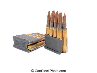 M1 Garand clips and ammunition white background. - World War...
