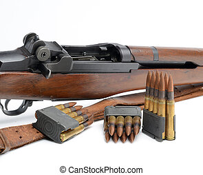 M1 Garand Rifle, clips and ammunition on white background. -...