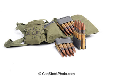 M1 Garand clips, ammunition and bandolier - M1 Garand Clips,...