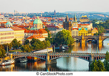 Beautiful view of bridges through Vltava in Prague, the Czech Republic