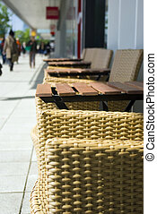 chairs and tables on street - chairs and tabels on street in...