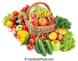 fruit and vegetable in basket isolated on white background...
