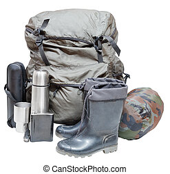 camping equipment isolated on white background - set of...
