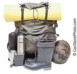 outdoor camping equipment isolated on white - set of camping...
