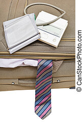 above view of sphygmometer on suitcase with tie - above view...