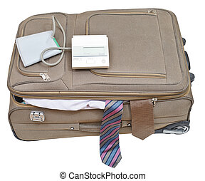 sphygmomanometer on suitcase with male ties isolated on...