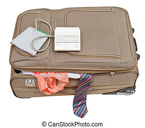 sphygmomanometer on suitcase with tie and panties -...