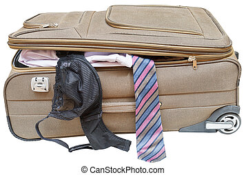 suitcase with fell out male tie and female bra - textile...