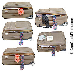 set of suitcases with female and male clothes isolated on...