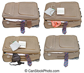 set of suitcases with ladies and business clothes isolated...