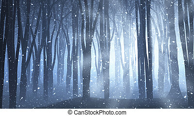 Forest scene on a winters nights - 3D render of a forest...