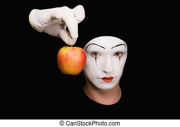portrait, mime, rouges, pomme, noir, fond